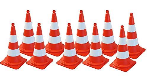 10 Stück UvV Leitkegel UVV75010, orange tagesleuchtend/weiße Folienringe, Weich-PVC, 75 cm, 4,1 kg stapelbar