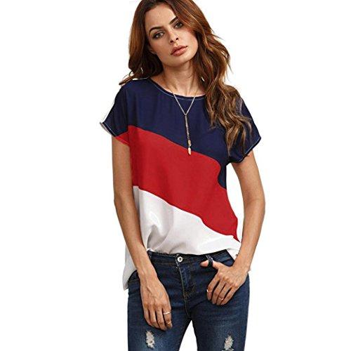 MRULIC Damen Kurzarm T-Shirt Rundhals Ausschnitt Lose Hemd Pullover Sweatshirt Oberteil Tops (EU-40/CN-L, Rot1) Stretch-damen-sweatshirt
