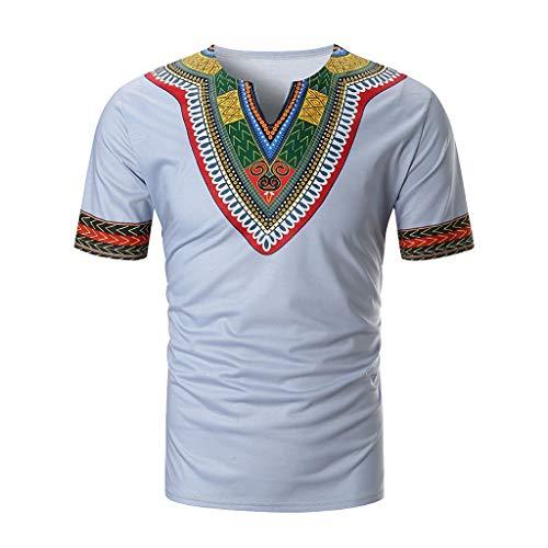 Luckycat Unisex Dashiki - Traditionelles Oberteil mit afrikanischem Druck Männer Stammes Kurze Ärmel Hip Hop Männer Sweatshirt Lässig Afrikanischen Print Pullover T-Shirt Top Kurzarm Bluse Sommer