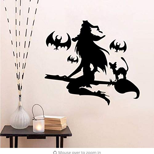Kreative Vinyl Halloween Aufkleber Fledermaus Hexe SchlafzimmerWandaufkleberSchmuck in Glas Abnehmbare Fenster ZimmerWandaufkleber 42 * 52 cm
