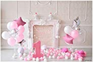 Andoer 2.1 * 1.5m/7 * 5ft First Birthday Backdrop Cake Balloon Fireplace Photography Background Children Baby