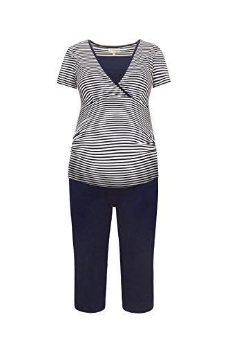 Herzmutter Kurzer Stillpyjama-Umstandspyjama | Nachtwäsche-Pyjama-Set für Schwangerschaft-Stillzeit-Stillfunktion | Schlafanzug mit Spitze-Streifen-Muster | Softes Material | 2600 (M, Weiß/Blau) Rosa Capri-set
