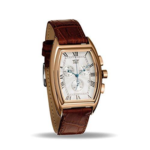 Davis 0034 - Reloj Retro Hombre Cronógrafo Acero Oro Rosa Cuadrante Tonel Esfera Blanca Acero Correa de Piel Marrón