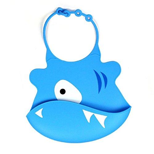 Koly Baberos del bebé - Bebé de silicona babero impermeable (Azul)