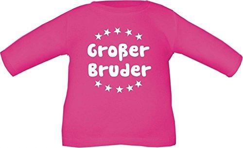 Baby / Kinder T-Shirt langarm mit Druck Großer Bruder / Größe 60 - 152 in 6 Farben Fuchsia
