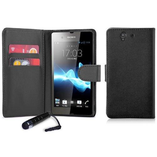 VC Book Wallet PU Leder Schutzhülle für Sony Experia Z3Compact Handy + Displayschutzfolie, Reinigungstuch und Touch Stylus (Handy Z3)