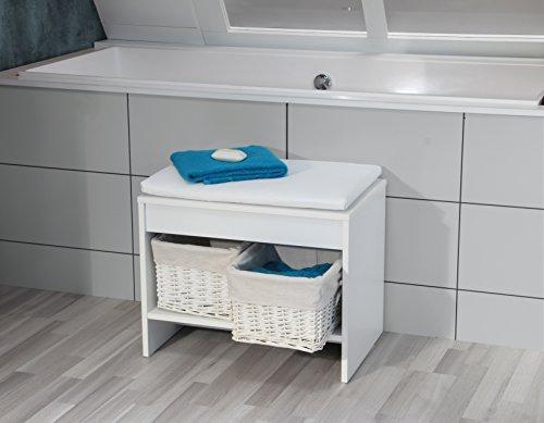 Fackelmann Badhocker RELAX! / Sitzbank fürs Bad / Badmöbel / Maße (BxHxT): ca. 58 x 45 x 39 cm / Farbe: weiß / Breite 58 cm / Badhocker mit Sitzkissen / zwei Körbe zur Aufbewahrung
