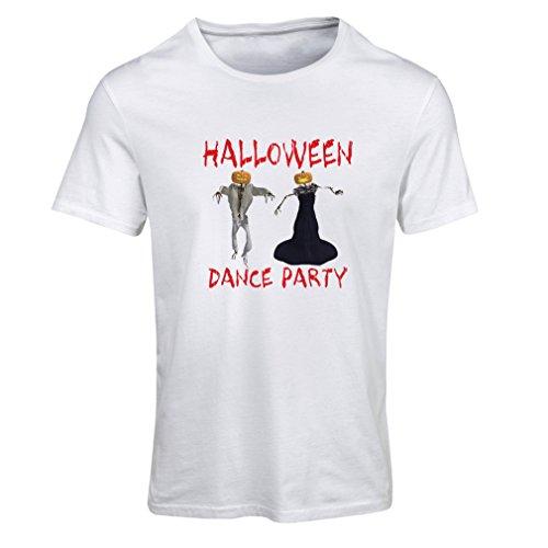 Frauen T-Shirt Coole Outfits Halloween Tanz Party Veranstaltungen Kostümideen (X-Large Weiß Mehrfarben)