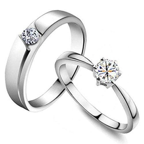 BeyDoDo 1PCS Versilbert Damen Ring Paar mit 3A Zirkonia Prinzessin Partnerring Ehering Ring Silber Ringgröße 56 (Frosch Und Der Outfits Prinzessin)