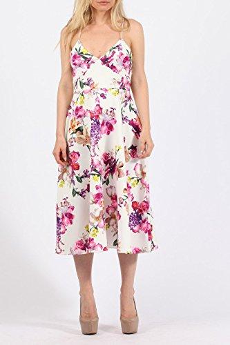 Mesdames Floral Cami Midi Longueur Robe patineuse EUR Taille 36-44 multi Imprimer