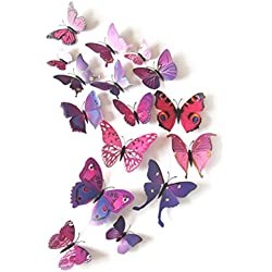 12Pcs Adhesivos Pegatinas de Mariposa 3D, Mariposas Etiquetas Engomadas Decoración de La Pared para Hogar, Casa, Habitación, Salón, Café Color Púrpura