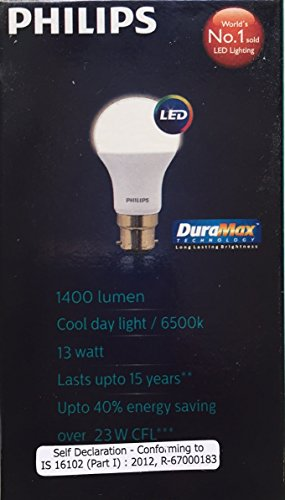 PHILIPS LED 13W DELIVERS 1400 LUMENS STELLAR BRIGHT LED LAMP B22 CRYSTAL WHITE / COOL DAY LIGHT / 6500K. [DURAMAX TECHNOLOGY LONG LASTING BRIGHTNESS]. [2 YEARS MANUFACTURER WARRANTY]. [ALL AROUND LIGHT]. [PACK OF THREE].