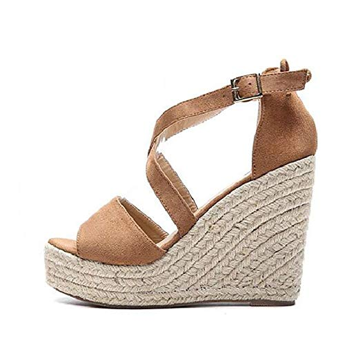 YOPAIYA Espadrilles,Frauen Rom Kreuz Stroh Seil Braun Plateau Sandalen Peep Toe Wedge Espadrilles Damen Schnalle Komfortable Damen Sandalen, 36 Guess Peep Toe Wedges