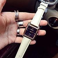 NICEWATCH Reloj de Pulsera para Mujer Reloj Estrella de Moda Tachonado Reloj de Cuarzo Cuadrado Lady Belt, Correa Blanca
