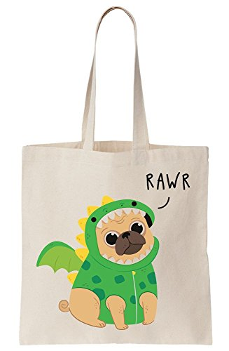 graphke Rawr Pug Dinosaur Artwork Canvas Tote Bag (Icon-canvas-tote -)