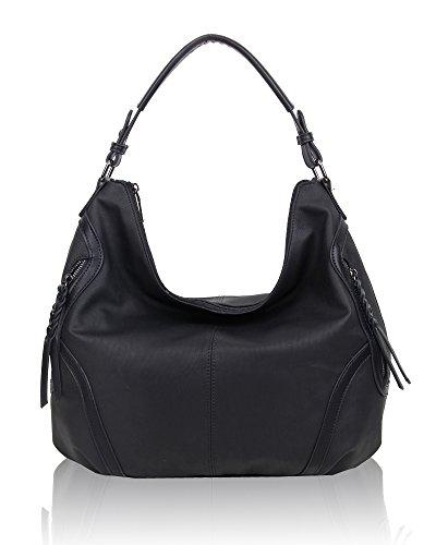 12x24x24 Swankyswans Black Bag Faux Hobo Schwarz Leather Alia centimeters Damen Schultertasche CqOwrC0g