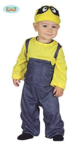 Guirca- Costume Minions Neonato 6/12 Mesi, Colore Blu e Giallo, 6-12, 87624
