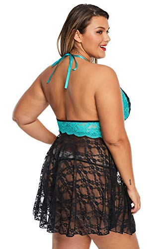 Plus Size Lingerie Green Sexy Lace Backless Halter Plus Size Babydoll for Women | Green Color | 5XL Size | Plus Size Lingerie & Plus Size Nightwear Store
