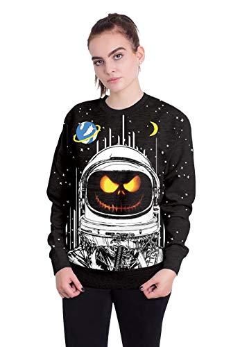 ween Kürbisfrauen Halloween Pumpkinghost Gesicht Aerospace Digital Print Pullover Neutral Lose Top, S 3D ()