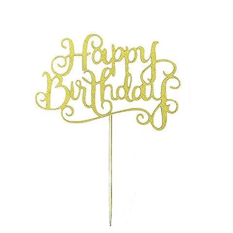 MagiDeal 20x Glitterpapier Happy Birthday Kuchen Kuchen Topper Dekor Home Party