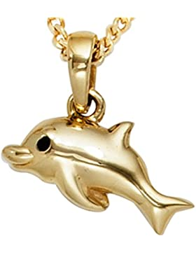 JOBO Anhänger Delfin 333 Gold Gelbgold schwarze Lackeinlage