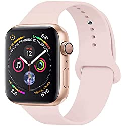 GIPENG pour Bracelet Apple Watch 42MM, Bracelet Sport pour Apple Watch Serie 1, Serie 2, Serie 3, Sport, Edition, Hermès,Nike (Sable Rose, 42MM-ML)