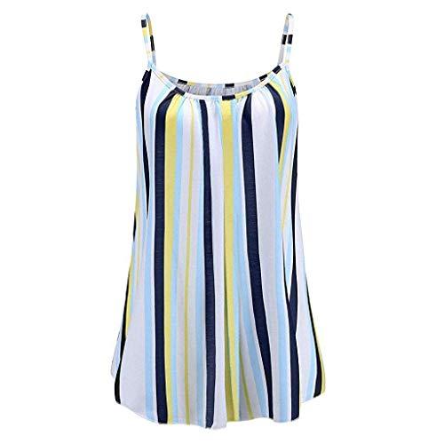 Streifen Tunika Tank (KIMODO Damen Lose ärmellose Tank Top Streifen Drucken Camisole Weste Plus Size T-Shirt Bluse Sommer Oberteile Große Größen)