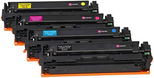 Colour Laserjet-laser-toner (4er Set INK INSPIRATION® Premium Toner für HP Color Laserjet Pro MFP M277dw M277n M274n M252dw M252n | kompatibel zu HP 201X CF400X 2.800 Seiten CF401X CF402X CF403X 2.300 Seiten)