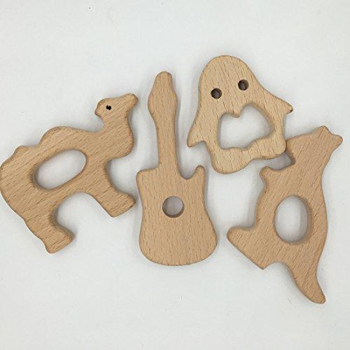 Preisvergleich Produktbild Coskiss 8pcs DIY Holz-Pinguin-Kamel-Känguru-Gitarren-Baby-Zettel-Krankenpflege-Baby-Zahnen-Spielzeug-organisches Säuglingszahnen-Halter-Spielwaren-handgemachtes Baby-hölzernes Zahnen-Geschenk (Holzfarbe-8pcs)