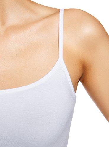 oodji Ultra Damen Tagless Top mit Dünnen Trägern (3er-Pack) Weiß (1000N)
