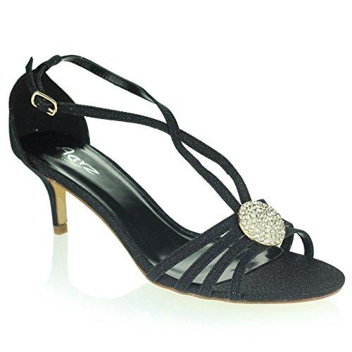 Frau Damen Kristall Brosche Riemen Diamant Schlank Mittlerer Absatz Abend Party Hochzeit Abschlussball Sandalen Schuhe Größe Schwarz