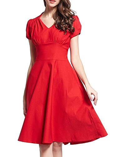 Minetom Femme Robe V-cou à Manches Courtes Retro Cocktail 1950 Rockabilly Swing Party Robe Rouge