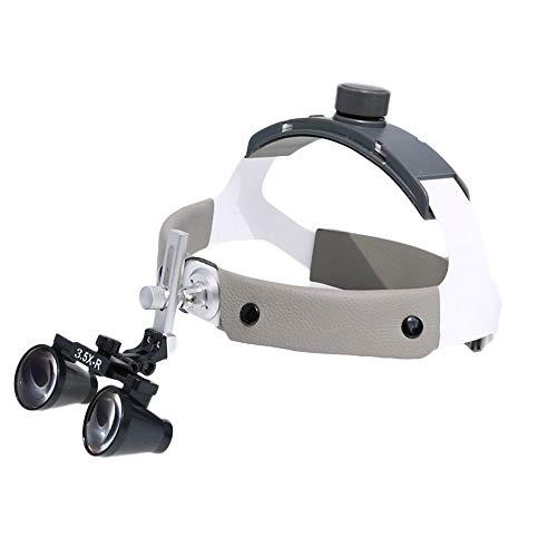 DX.JZ Medico Lente di ingrandimento 2.5X / 3.5X cavità Orale Odontoiatria Chirurgia Binoculare Fascia per Capelli occhialini Medico Professione Luce Frontale Angolo Regolabile,3.5X