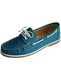 Mujer Coolers Nobuk Falso Mocasines Piel Con Cordones Zapatos Náuticos Tallas 4 - 8