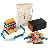 Laleni 90 Holzbausteine 6 Farben - Bauklötze mit Sammelbox, Bausteine Holz, Holzbaukasten, Holzklötze