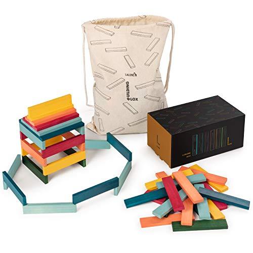 Laleni 90 Holzbausteine 6 Farben - Bauklötze mit Beutel, Bausteine Holz, Holzbaukasten, natur
