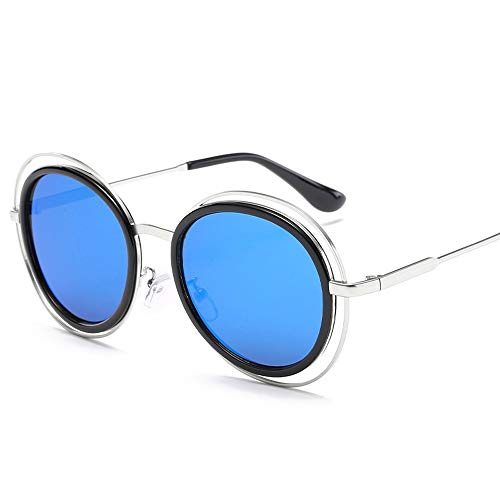 Easy Go Shopping Retro Fashion Sonnenbrillen Round Frame Sonnenbrillen Metall Frauen Sonnenbrillen Sonnenbrillen und Flacher Spiegel (Color : Blau, Size : Kostenlos)