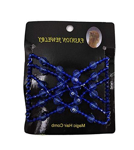 Lunji Dehnbar Haarkämme für Damen, Multi-Funktions Haar-Clip, Magic Beaded Haarzubehör (Blau)