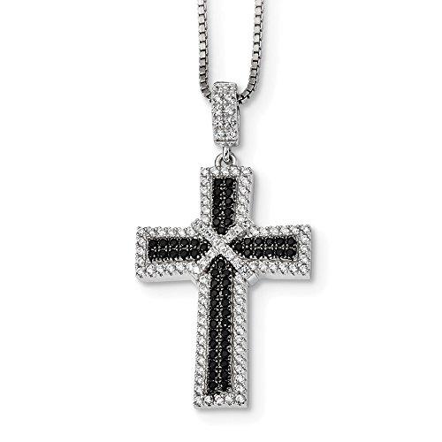 Halskette mit Kreuz-Anhänger 14 Karat Weißgold vergoldet Schwarz/Weiß Diamantschliff 45,7 cm (10k Weiß Gold Herren Kreuz-anhänger)