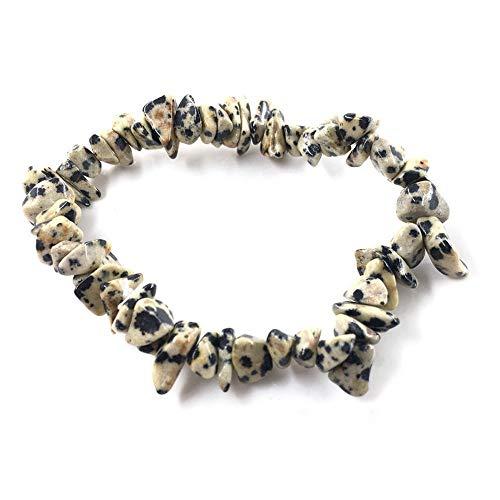 LLXXYY Stein Armband,Natürliche Edelstein Armband Stretch Chip Perlen Nuggets Granat Crystal Coral Quarz Armbänder Armreifen Für Frauen Gelb Schwarz