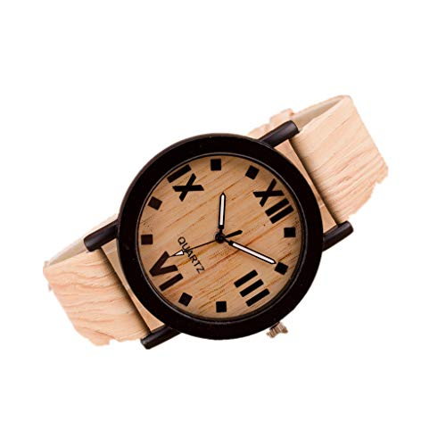 Jia Meng Damen Retro Armbanduhr, Römische Ziffern Holz Lederband Analoge Quarz Vogue Armbanduhren (23cm, Holzfarbe)