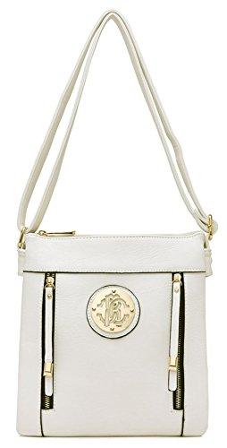 messenger zip a due Handbag tasche White ST305 con Big frontali tracolla lunga Shop tira wSzqwnvY