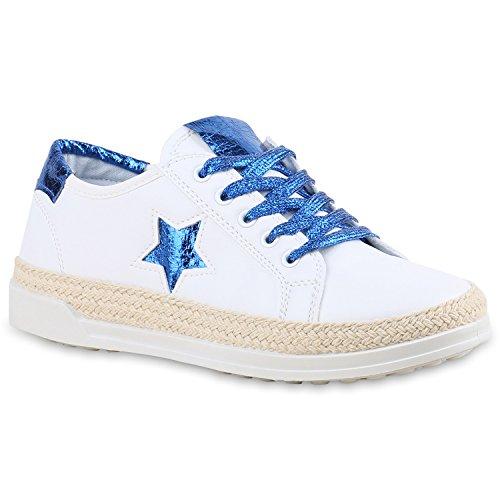 Senhoras Brancas Sapatilhas Estrela Metálica Brilhante Calçados Esportivos Azuis Branco