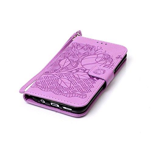 Für Galaxy S7 Edge Hülle [Frei Displayschutzfolie],Fatcatparadise(TM) Schutzhülle Tasche Handyhülle Schutz Hüllen im Bookstyle Ledertasche mit Stand Funktion Kartenfächer Magnetverschluss Magnet Etui  Purple Rose