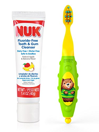 NUK Toddler Tooth and Gum Cleanser with 1.4 Ounce Toothpaste, Colors May Vary by NUK