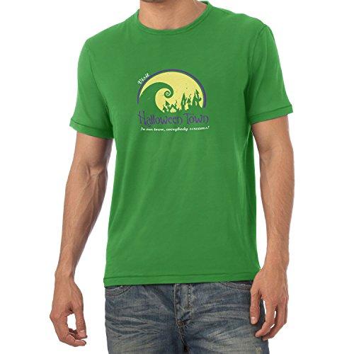 NERDO - Visit Halloween Town - Herren T-Shirt, Größe XXL, grün (Halloween Vhs 5)