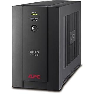 APC Back-UPS BX - Unterbrechungsfreie Stromversorgung USV 1400VA BX1400U-GR (AVR, 4 Schuko Ausgänge, USB) schwarz