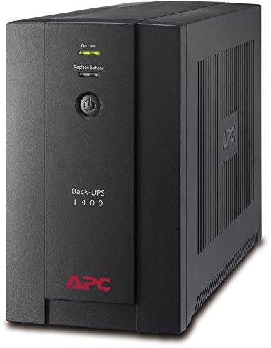 APC Back-UPS BX - Unterbrechungsfreie Stromversorgung USV 1400VA BX1400U-GR (AVR, 4 Schuko Ausgänge, USB) schwarz -