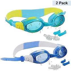 Bezzee-Pro Pack de 2 Gafas de Natación Niños con 2 Pares de Puentes Nasales Ajustables y Tapones Transparentes para Oídos - Júnior Gafas de Natación Protección UV Anti-Niebla para Niños, Niñas
