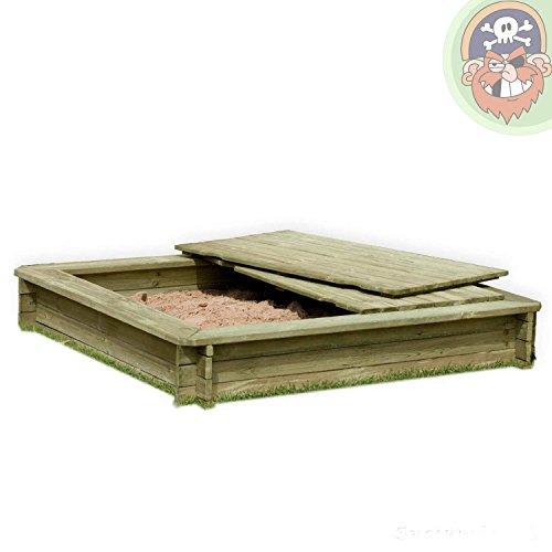 Preisvergleich Produktbild Sandkasten 180 x 180 cm aus Holz 30 mm imprägniert mit Deckel von Gartenpirat®
